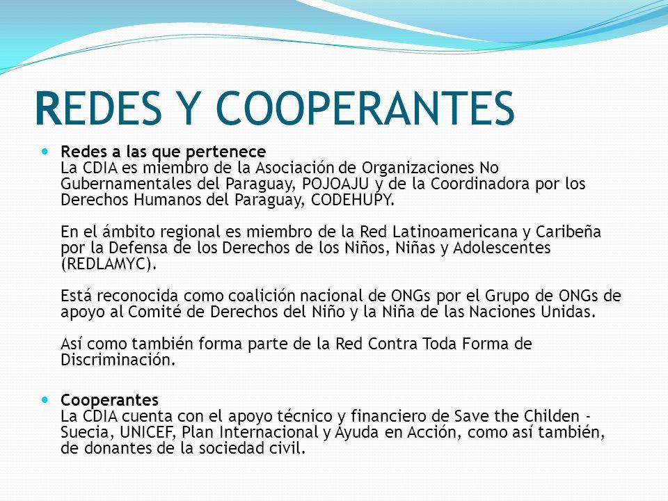 REDES Y COOPERANTES Redes a las que pertenece La CDIA es miembro de la Asociación de Organizaciones No Gubernamentales del Paraguay, POJOAJU y de la C