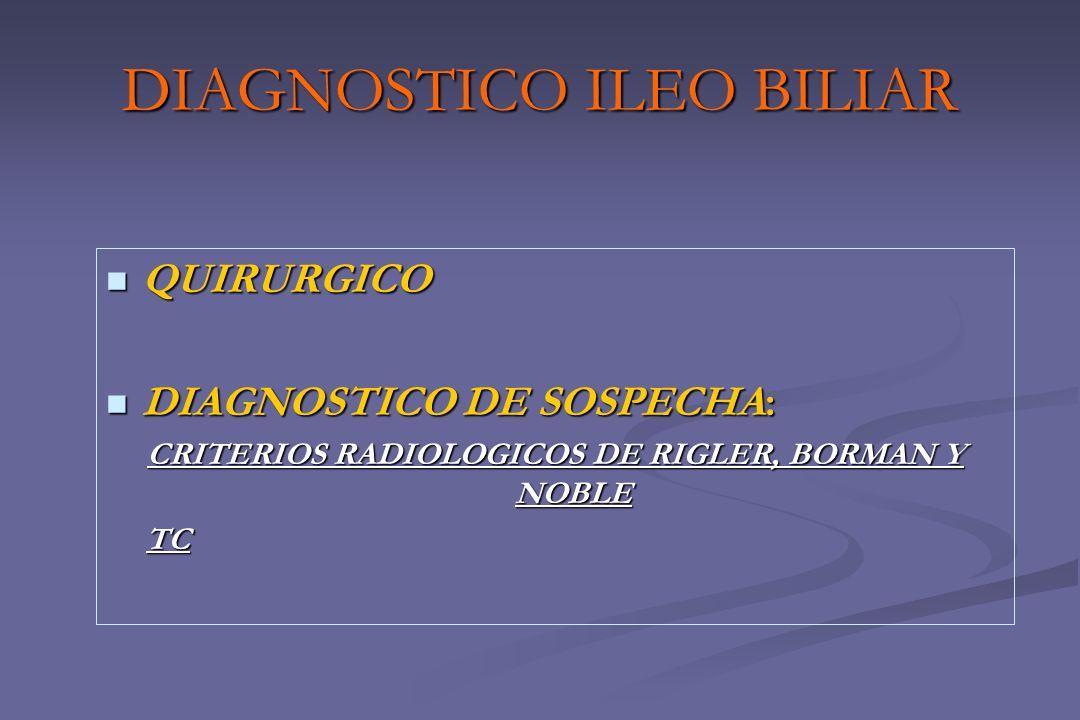 DIAGNOSTICO ILEO BILIAR QUIRURGICO QUIRURGICO DIAGNOSTICO DE SOSPECHA: DIAGNOSTICO DE SOSPECHA: CRITERIOS RADIOLOGICOS DE RIGLER, BORMAN Y NOBLE TC TC