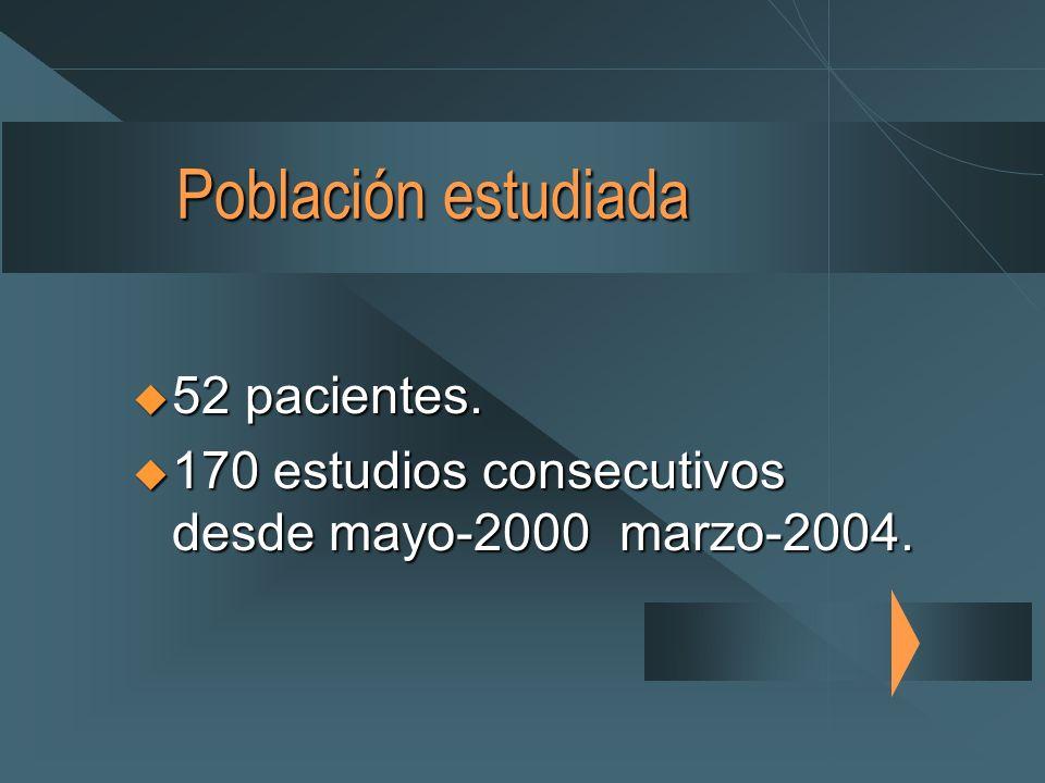 Población estudiada 52 pacientes.52 pacientes.
