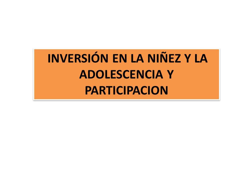 INVERSIÓN EN LA NIÑEZ Y LA ADOLESCENCIA Y PARTICIPACION