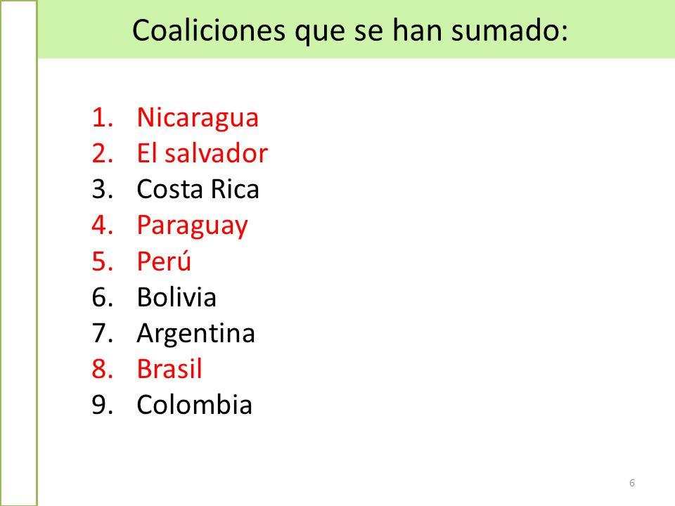 Coaliciones que se han sumado: 6 1.Nicaragua 2.El salvador 3.Costa Rica 4.Paraguay 5.Perú 6.Bolivia 7.Argentina 8.Brasil 9.Colombia
