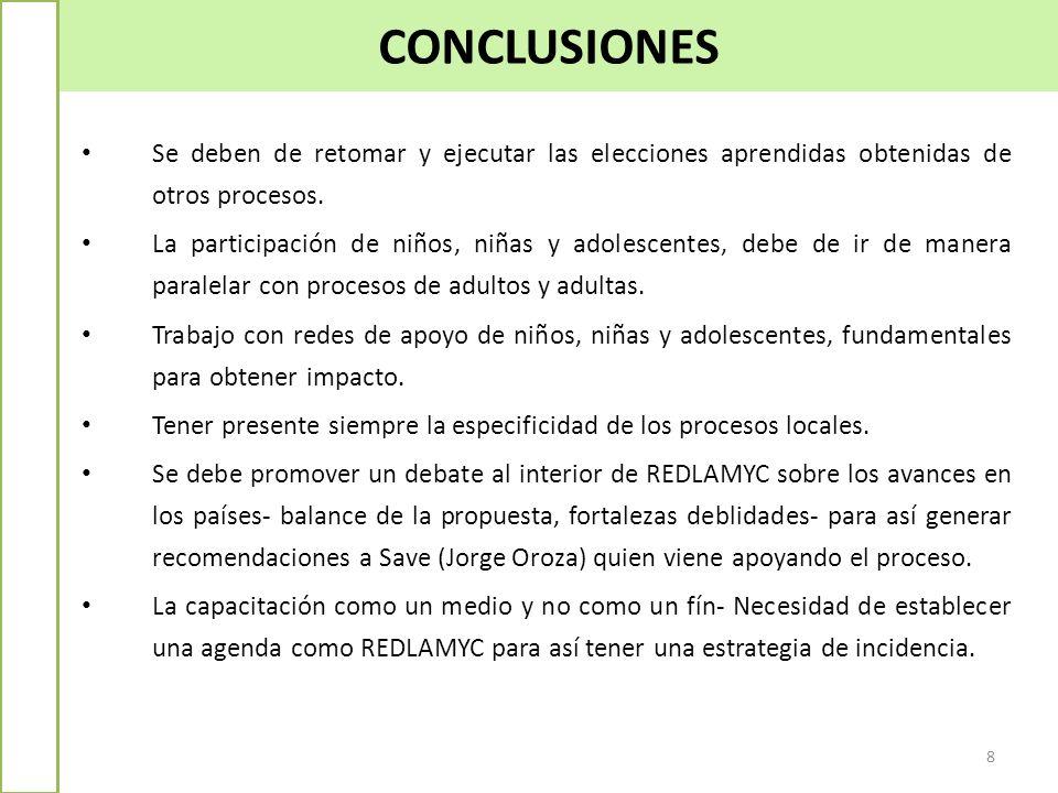 CONCLUSIONES 8 Se deben de retomar y ejecutar las elecciones aprendidas obtenidas de otros procesos. La participación de niños, niñas y adolescentes,