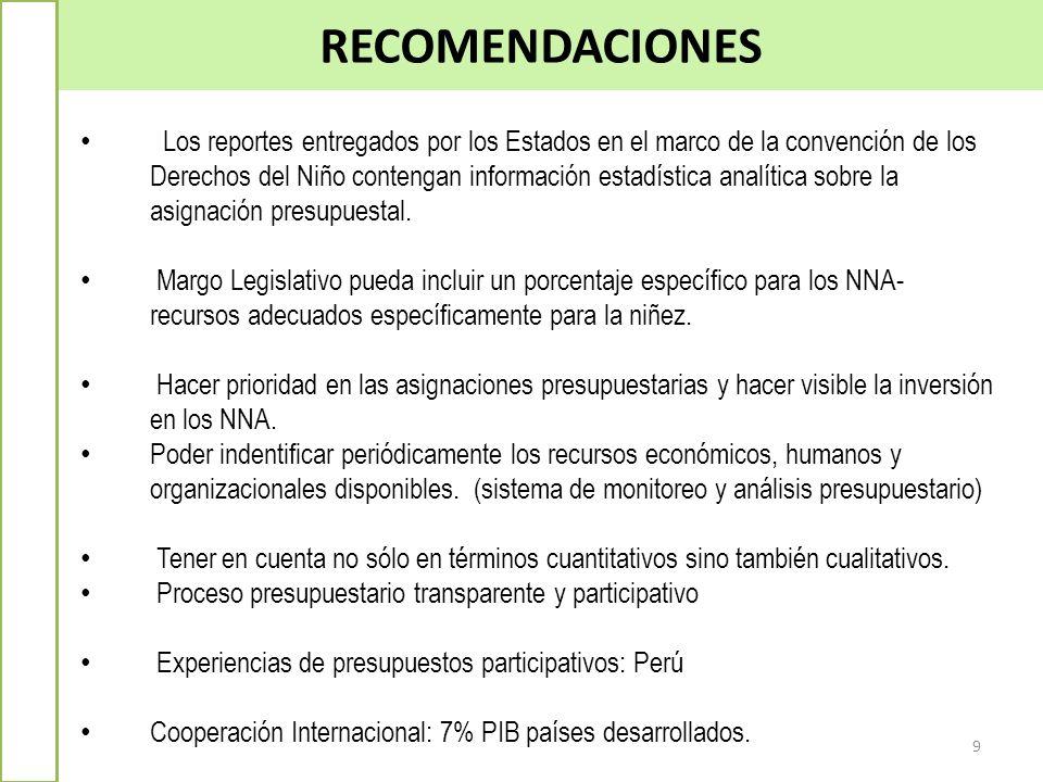 RECOMENDACIONES 9 Los reportes entregados por los Estados en el marco de la convención de los Derechos del Niño contengan información estadística anal