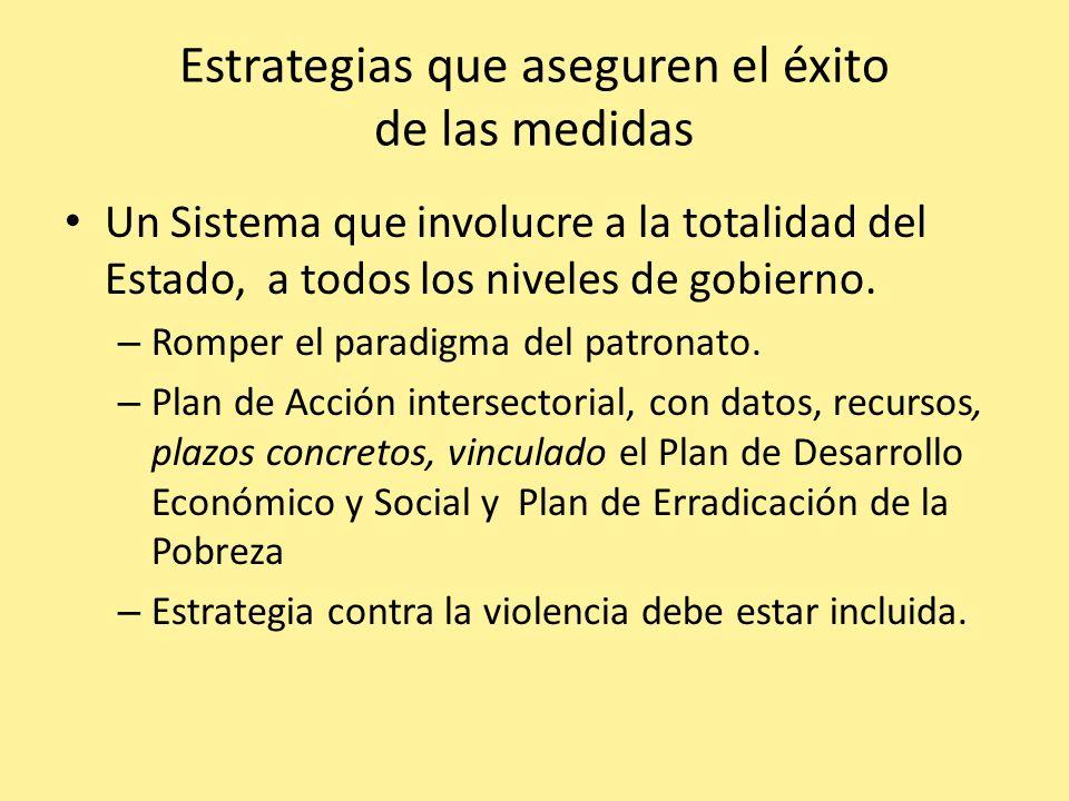 Estrategias que aseguren el éxito de las medidas Un Sistema que involucre a la totalidad del Estado, a todos los niveles de gobierno. – Romper el para