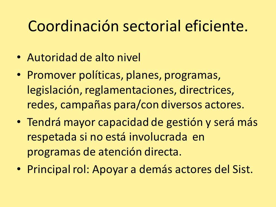 Coordinación sectorial eficiente. Autoridad de alto nivel Promover políticas, planes, programas, legislación, reglamentaciones, directrices, redes, ca