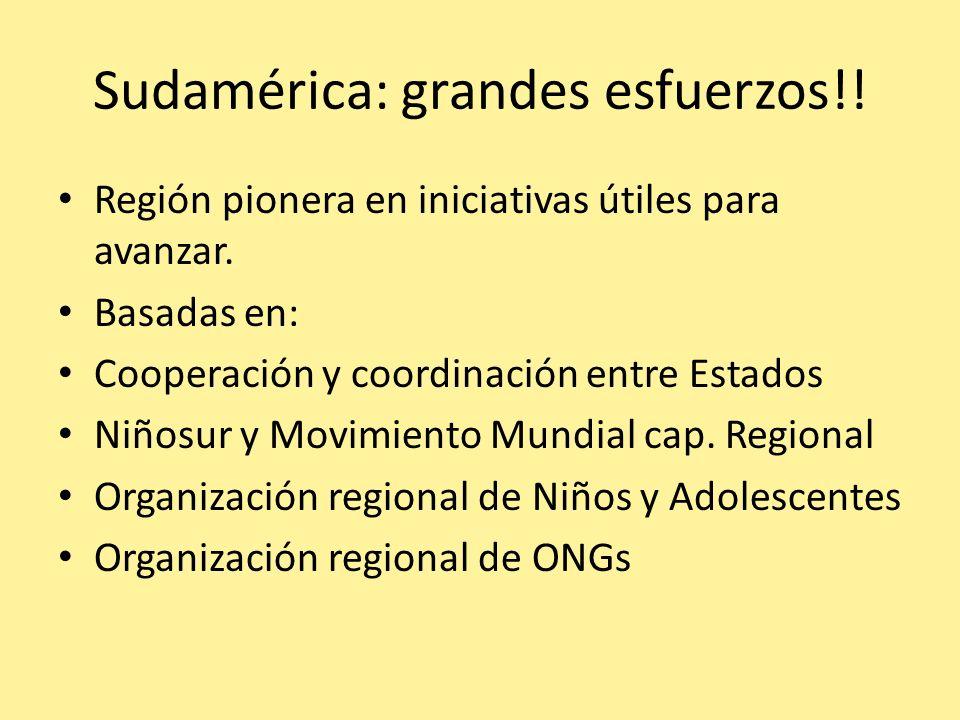Sudamérica: grandes esfuerzos!! Región pionera en iniciativas útiles para avanzar. Basadas en: Cooperación y coordinación entre Estados Niñosur y Movi