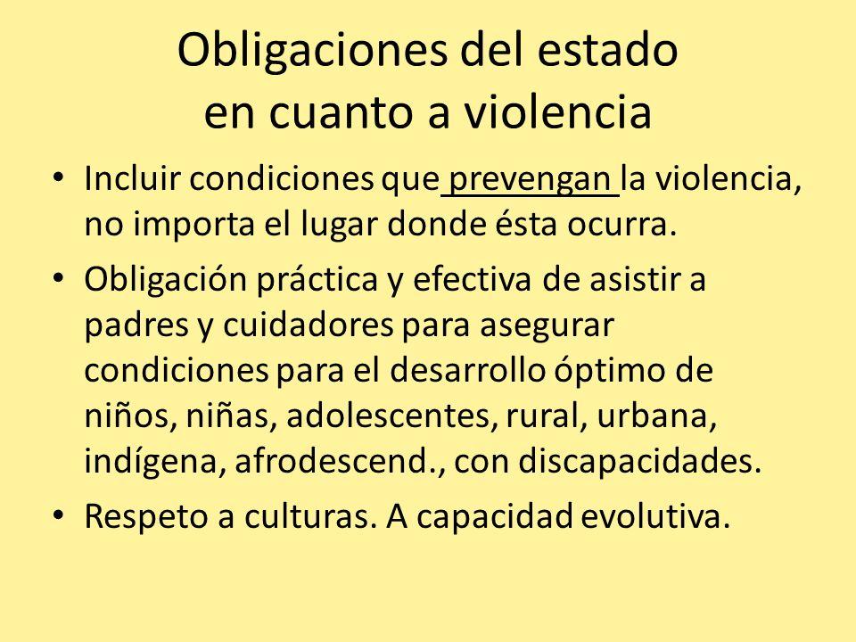 Obligaciones del estado en cuanto a violencia Incluir condiciones que prevengan la violencia, no importa el lugar donde ésta ocurra. Obligación prácti