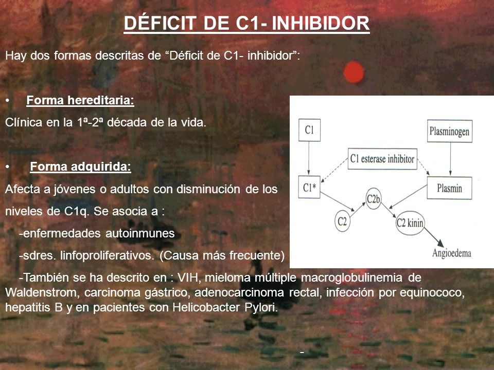 Hay dos formas descritas de Déficit de C1- inhibidor: Forma hereditaria: Clínica en la 1ª-2ª década de la vida.