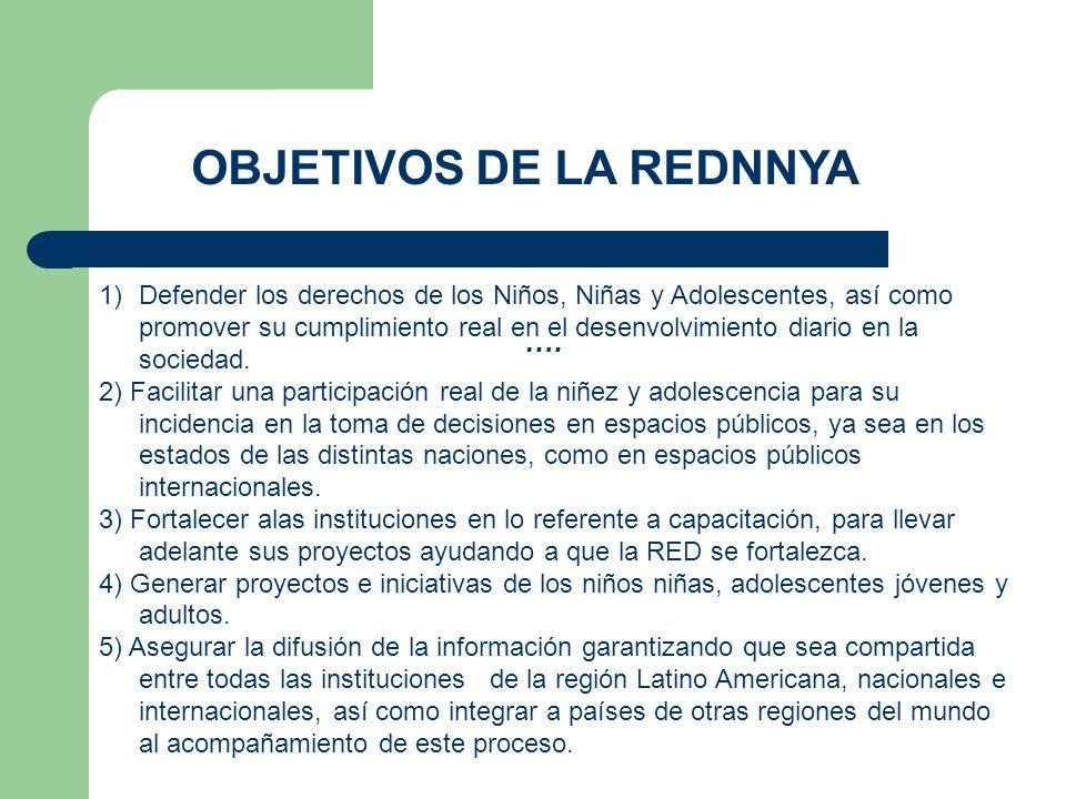 …. OBJETIVOS DE LA REDNNYA 1)Defender los derechos de los Niños, Niñas y Adolescentes, así como promover su cumplimiento real en el desenvolvimiento d