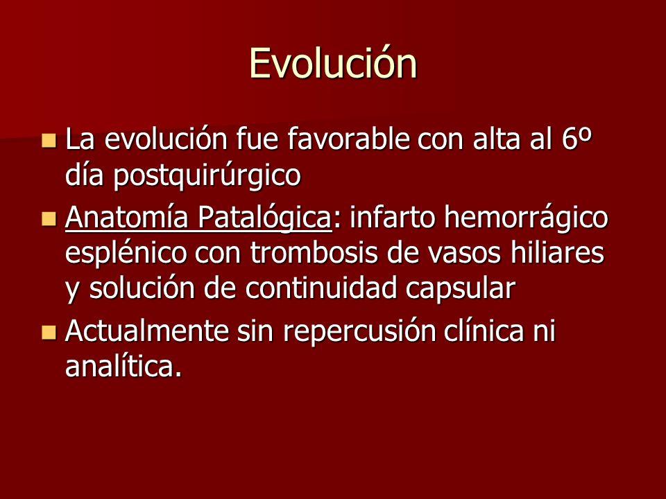 Evolución La evolución fue favorable con alta al 6º día postquirúrgico La evolución fue favorable con alta al 6º día postquirúrgico Anatomía Patalógic