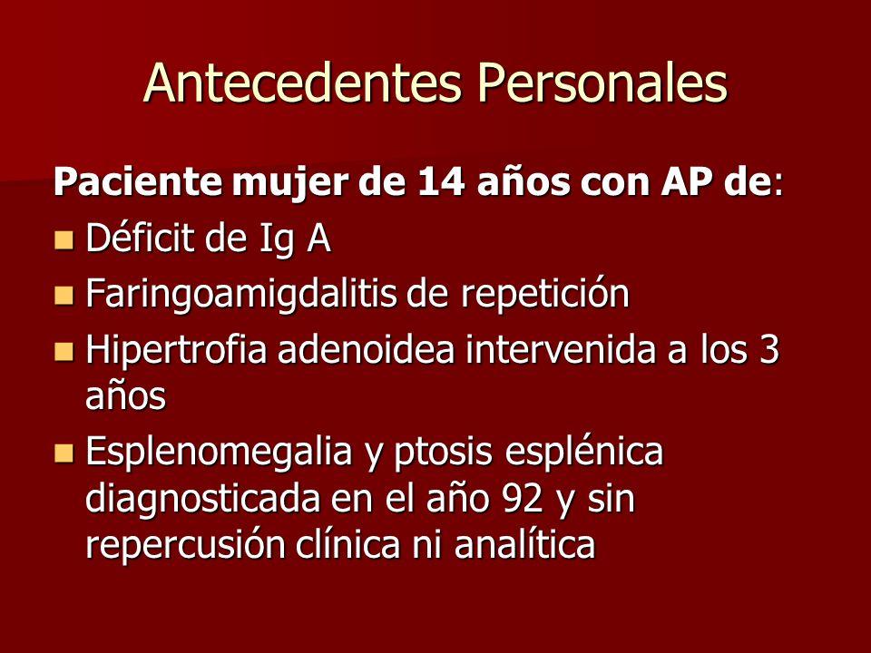 Antecedentes Personales Paciente mujer de 14 años con AP de: Déficit de Ig A Déficit de Ig A Faringoamigdalitis de repetición Faringoamigdalitis de re