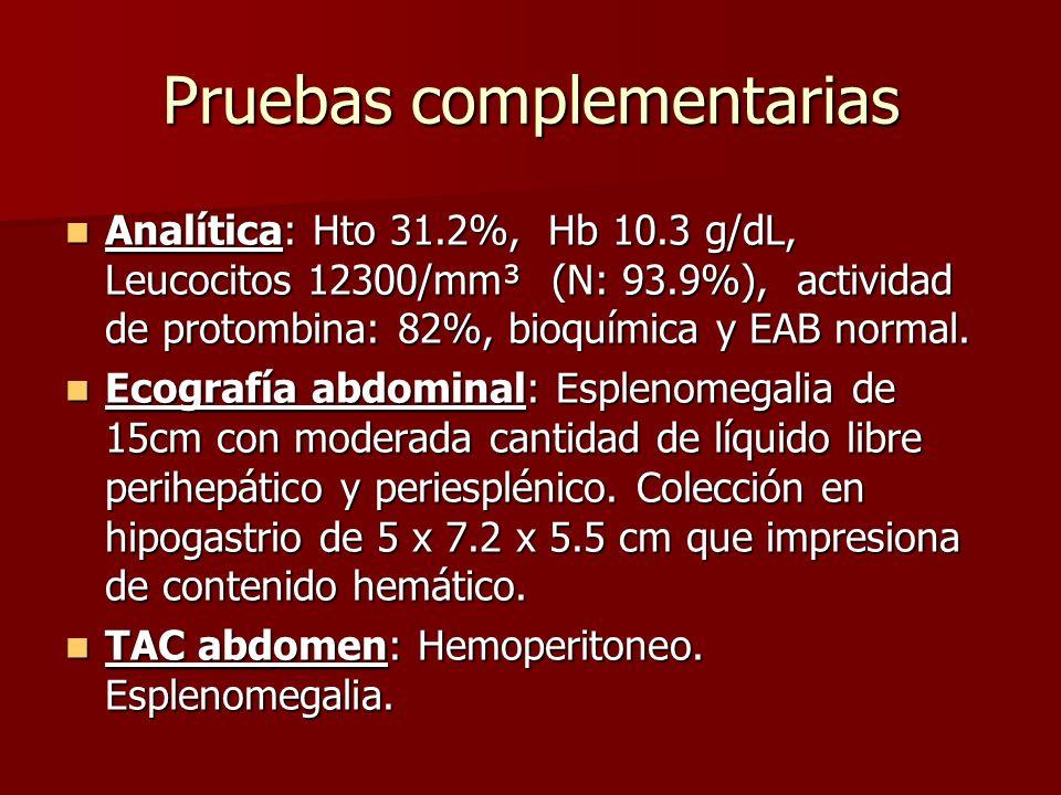 Pruebas complementarias Analítica: Hto 31.2%, Hb 10.3 g/dL, Leucocitos 12300/mm³ (N: 93.9%), actividad de protombina: 82%, bioquímica y EAB normal. An