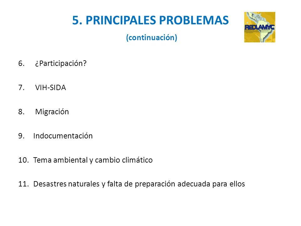 5. PRINCIPALES PROBLEMAS (continuación) 6.¿Participación? 7.VIH-SIDA 8.Migración 9.Indocumentación 10.Tema ambiental y cambio climático 11.Desastres n