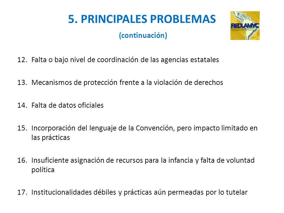 5. PRINCIPALES PROBLEMAS (continuación) 12.Falta o bajo nivel de coordinación de las agencias estatales 13.Mecanismos de protección frente a la violac