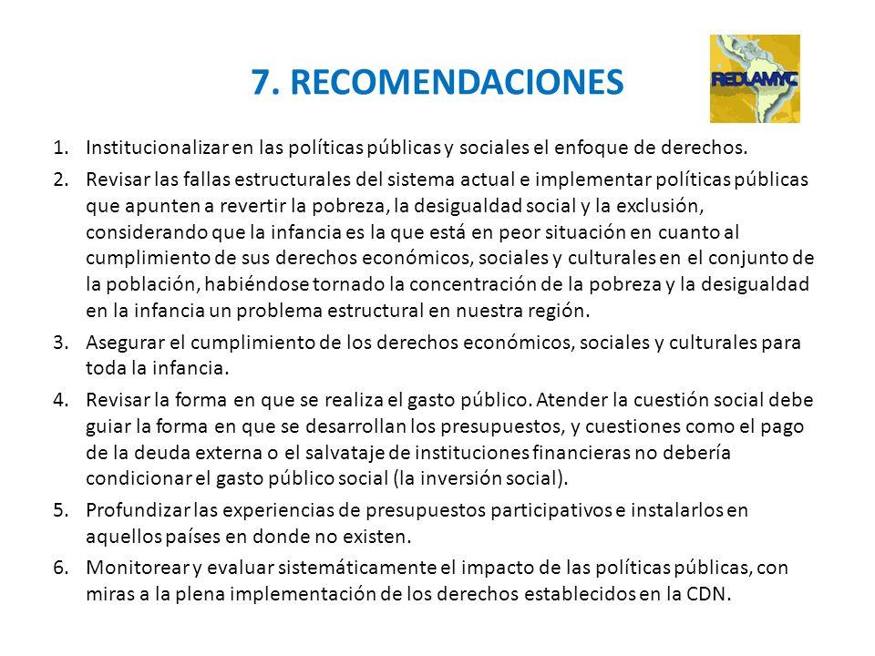 7. RECOMENDACIONES 1.Institucionalizar en las políticas públicas y sociales el enfoque de derechos. 2.Revisar las fallas estructurales del sistema act