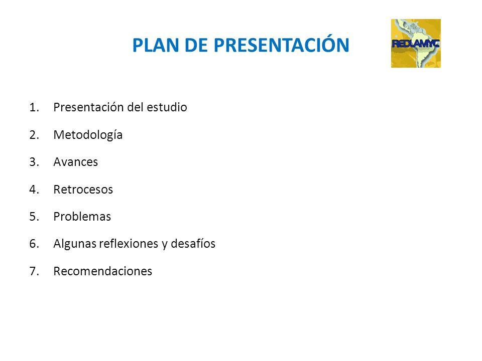 PLAN DE PRESENTACIÓN 1.Presentación del estudio 2.Metodología 3.Avances 4.Retrocesos 5.Problemas 6.Algunas reflexiones y desafíos 7.Recomendaciones