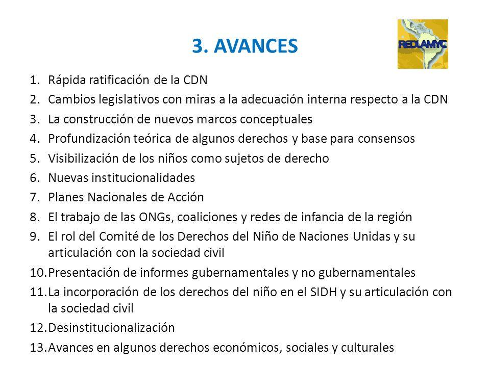 3. AVANCES 1.Rápida ratificación de la CDN 2.Cambios legislativos con miras a la adecuación interna respecto a la CDN 3.La construcción de nuevos marc