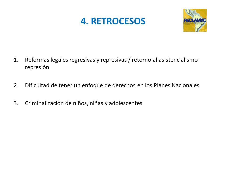 4. RETROCESOS 1.Reformas legales regresivas y represivas / retorno al asistencialismo- represión 2.Dificultad de tener un enfoque de derechos en los P