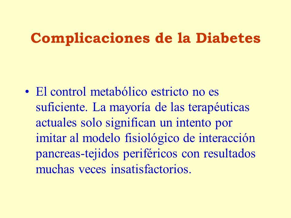 Complicaciones de la Diabetes El control metabólico estricto no es suficiente. La mayoría de las terapéuticas actuales solo significan un intento por