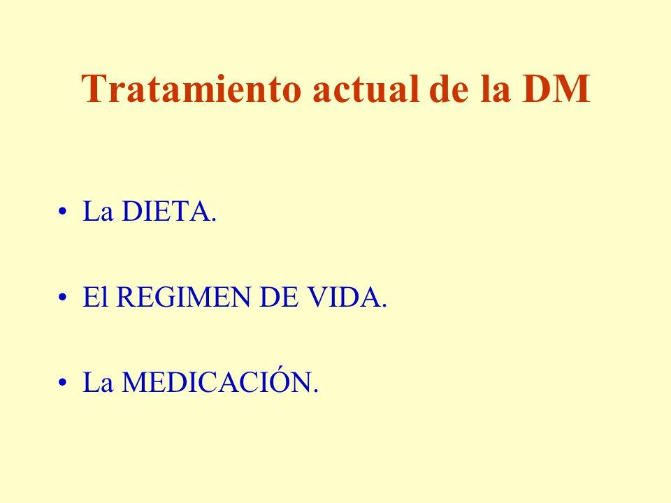 Tratamiento actual de la DM La DIETA. El REGIMEN DE VIDA. La MEDICACIÓN.