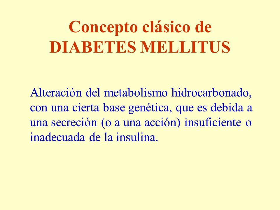 Concepto clásico de DIABETES MELLITUS Alteración del metabolismo hidrocarbonado, con una cierta base genética, que es debida a una secreción (o a una