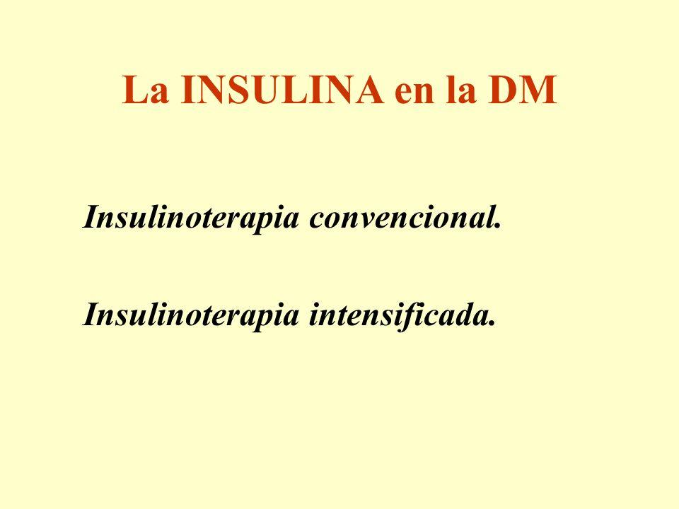 La INSULINA en la DM Insulinoterapia convencional. Insulinoterapia intensificada.