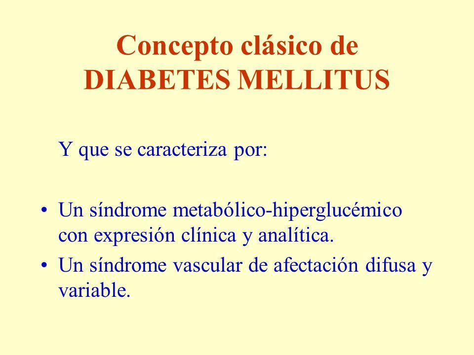 Concepto clásico de DIABETES MELLITUS Y que se caracteriza por: Un síndrome metabólico-hiperglucémico con expresión clínica y analítica. Un síndrome v
