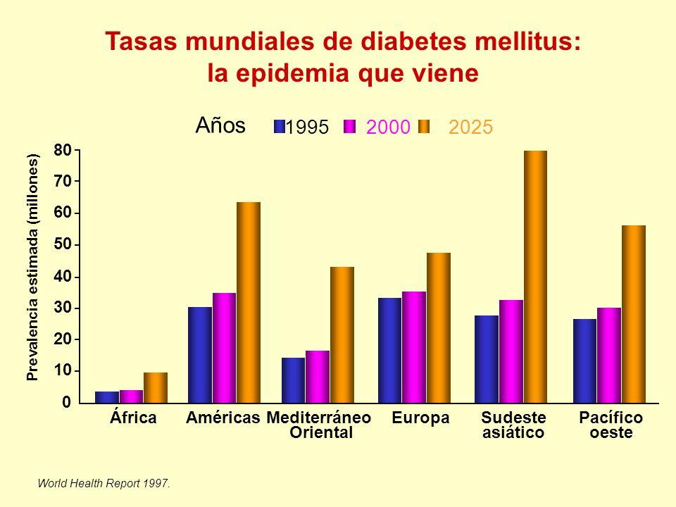 Tasas mundiales de diabetes mellitus: la epidemia que viene World Health Report 1997. Prevalencia estimada (millones) 0 10 20 30 40 50 60 70 80 África