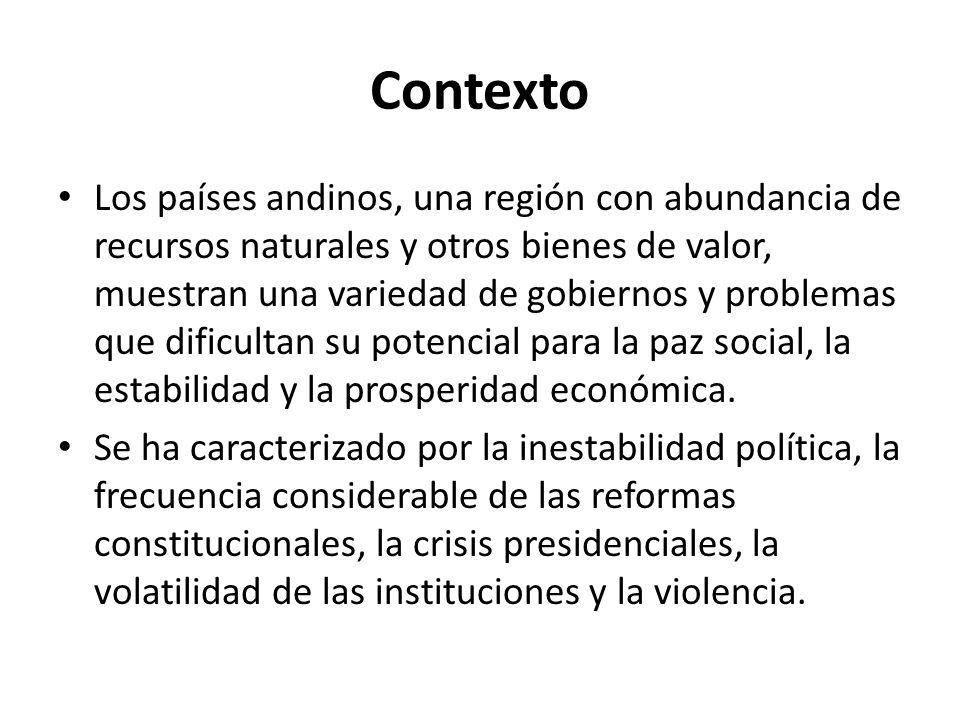 Contexto Los países andinos, una región con abundancia de recursos naturales y otros bienes de valor, muestran una variedad de gobiernos y problemas q