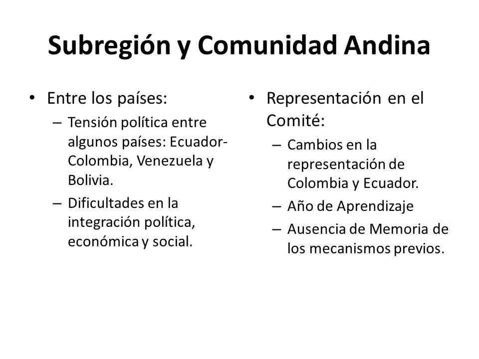 Subregión y Comunidad Andina Entre los países: – Tensión política entre algunos países: Ecuador- Colombia, Venezuela y Bolivia. – Dificultades en la i