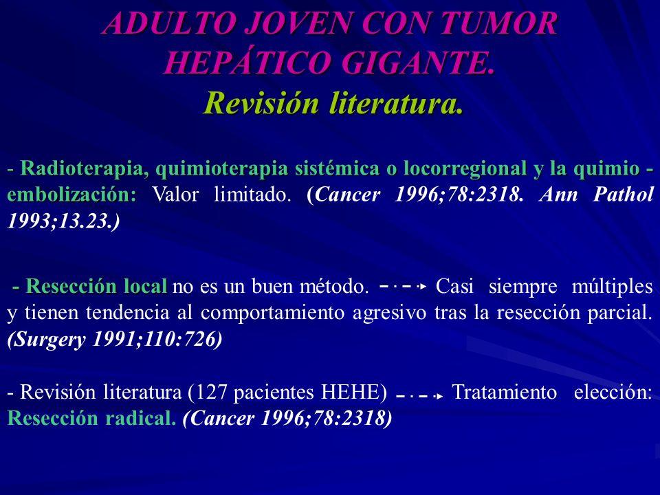 ADULTO JOVEN CON TUMOR HEPÁTICO GIGANTE. Revisión literatura. - Radioterapia, quimioterapia sistémica o locorregional y la quimio - embolización: - Ra