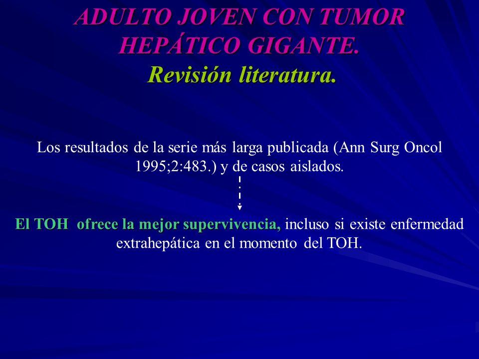 ADULTO JOVEN CON TUMOR HEPÁTICO GIGANTE. Revisión literatura. Los resultados de la serie más larga publicada (Ann Surg Oncol 1995;2:483.) y de casos a