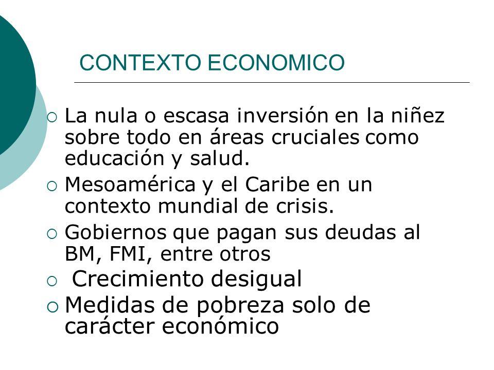 CONTEXTO ECONOMICO La nula o escasa inversión en la niñez sobre todo en áreas cruciales como educación y salud. Mesoamérica y el Caribe en un contexto