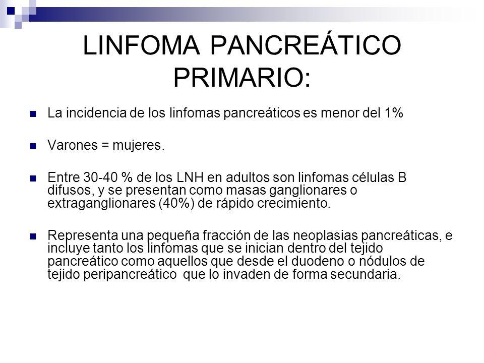 LINFOMA PANCREÁTICO PRIMARIO: La incidencia de los linfomas pancreáticos es menor del 1% Varones = mujeres. Entre 30-40 % de los LNH en adultos son li