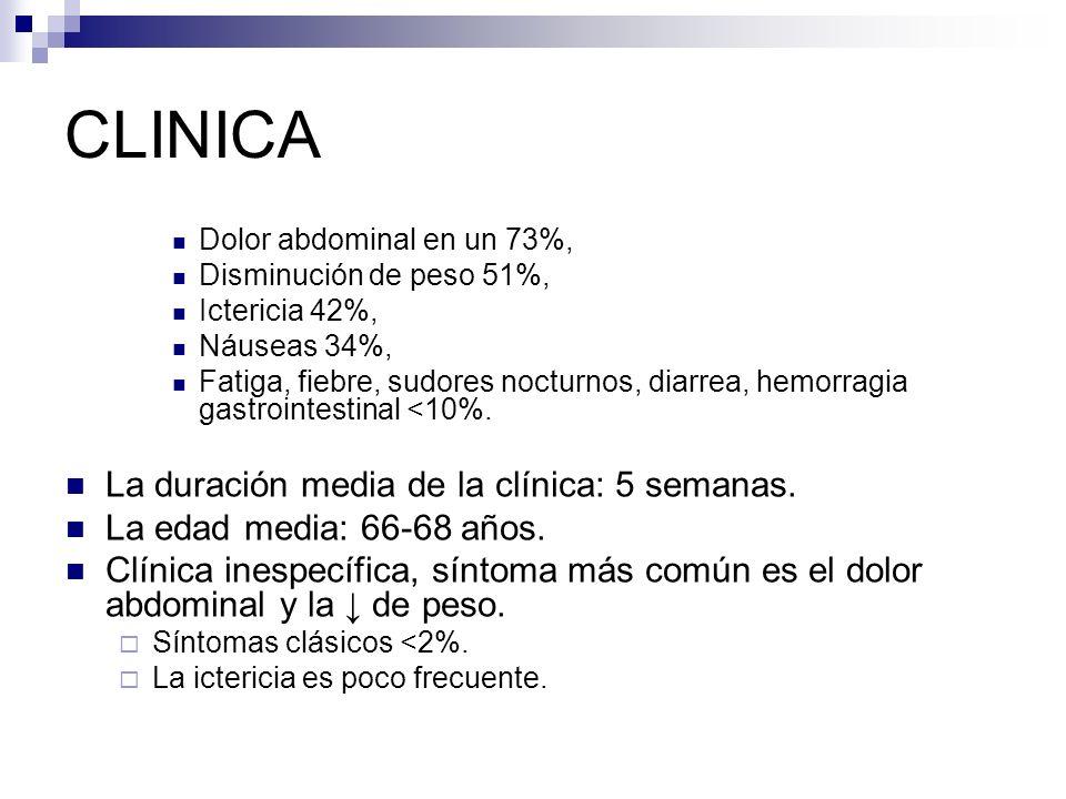 CLINICA Dolor abdominal en un 73%, Disminución de peso 51%, Ictericia 42%, Náuseas 34%, Fatiga, fiebre, sudores nocturnos, diarrea, hemorragia gastroi