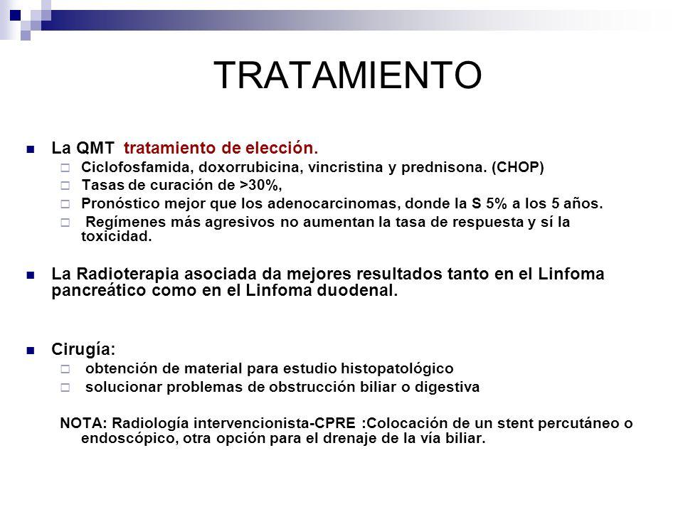 TRATAMIENTO La QMT tratamiento de elección. Ciclofosfamida, doxorrubicina, vincristina y prednisona. (CHOP) Tasas de curación de >30%, Pronóstico mejo