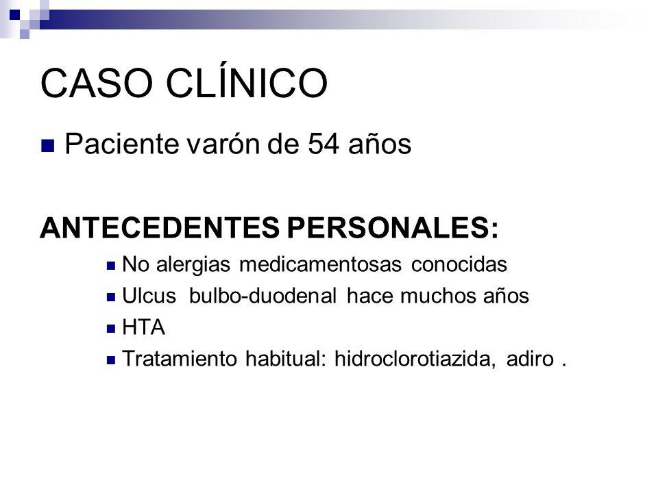 CASO CLÍNICO Paciente varón de 54 años ANTECEDENTES PERSONALES: No alergias medicamentosas conocidas Ulcus bulbo-duodenal hace muchos años HTA Tratami