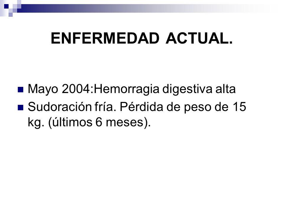 ENFERMEDAD ACTUAL. Mayo 2004:Hemorragia digestiva alta Sudoración fría. Pérdida de peso de 15 kg. (últimos 6 meses).