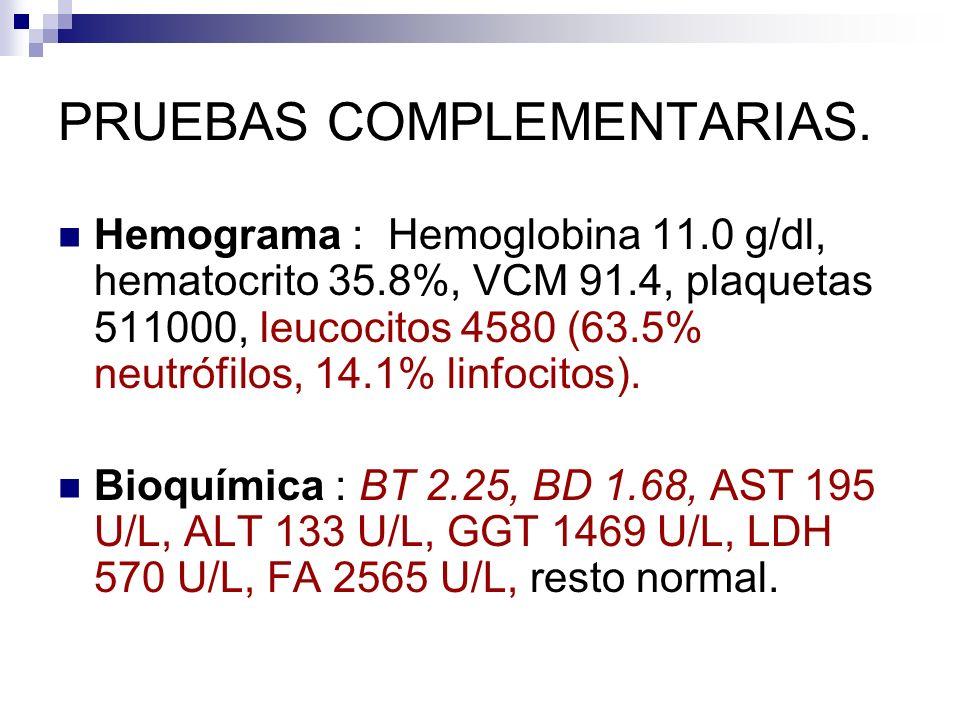 PRUEBAS COMPLEMENTARIAS. Hemograma : Hemoglobina 11.0 g/dl, hematocrito 35.8%, VCM 91.4, plaquetas 511000, leucocitos 4580 (63.5% neutrófilos, 14.1% l
