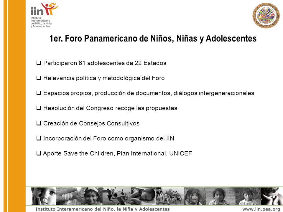 1er. Foro Panamericano de Niños, Niñas y Adolescentes Participaron 61 adolescentes de 22 Estados Relevancia política y metodológica del Foro Espacios