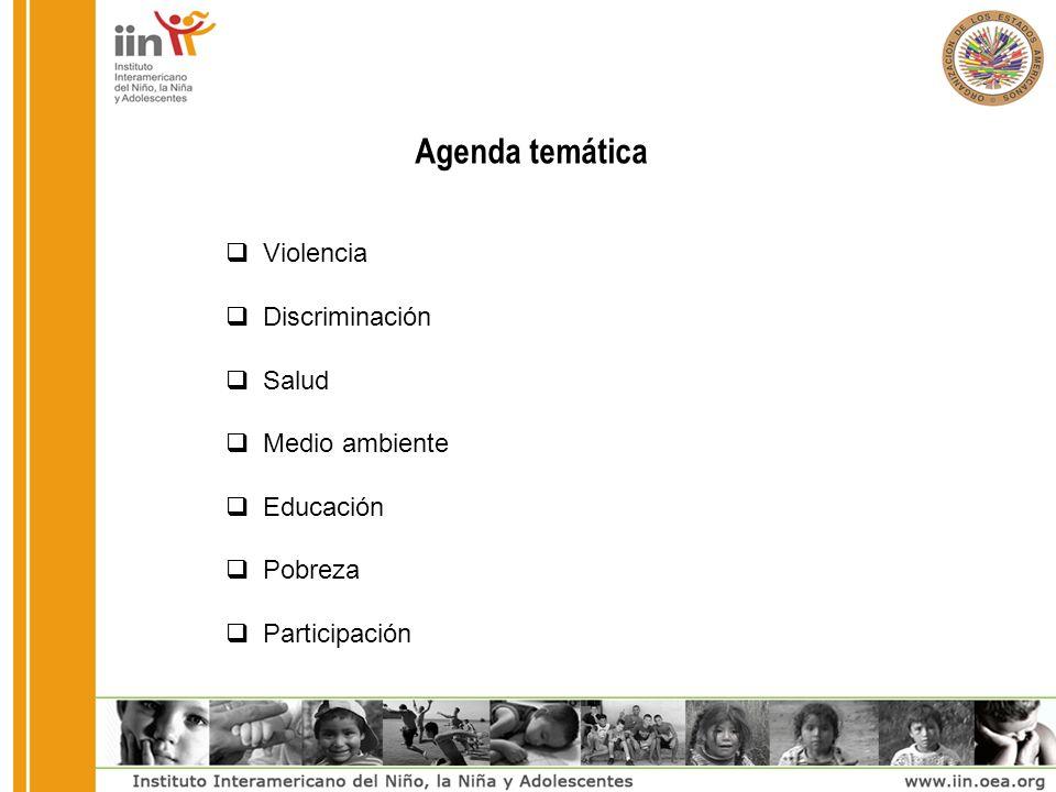 Agenda temática Violencia Discriminación Salud Medio ambiente Educación Pobreza Participación