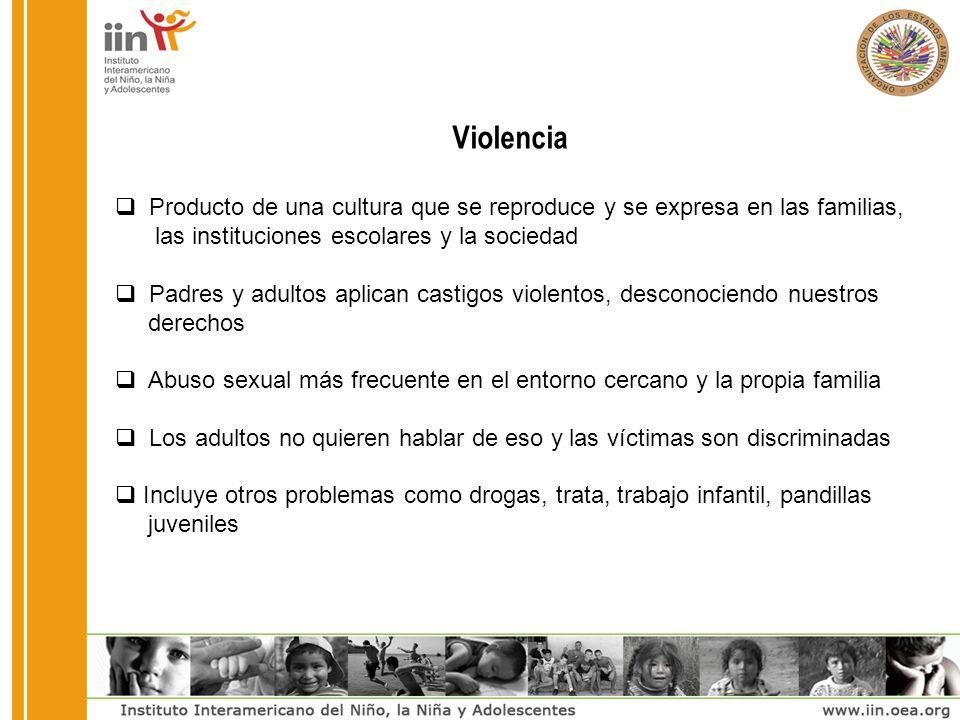 Violencia Producto de una cultura que se reproduce y se expresa en las familias, las instituciones escolares y la sociedad Padres y adultos aplican ca