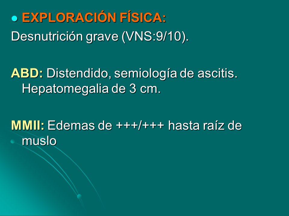 PRUEBAS COMPLEMENTARIAS: PRUEBAS COMPLEMENTARIAS:ANÁLISIS: Hb 11,4 VCM 95,5, Albúmina: 2,2 VSG 14 Hb 11,4 VCM 95,5, Albúmina: 2,2 VSG 14 ECO ABDOMEN: Abundante líquido abdóminopélvico.