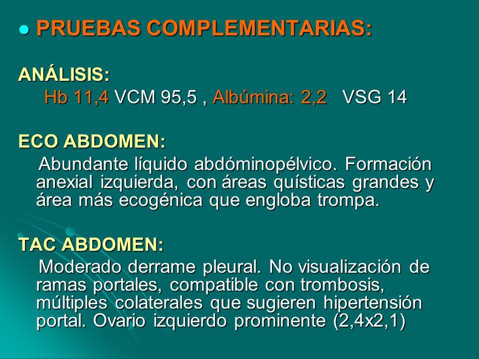 PRUEBAS COMPLEMENTARIAS: PRUEBAS COMPLEMENTARIAS:ANÁLISIS: Hb 11,4 VCM 95,5, Albúmina: 2,2 VSG 14 Hb 11,4 VCM 95,5, Albúmina: 2,2 VSG 14 ECO ABDOMEN: