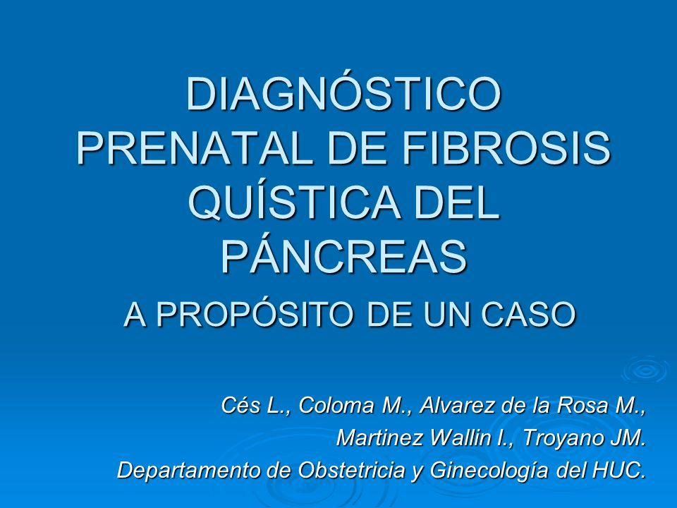 DIAGNÓSTICO PRENATAL DE FIBROSIS QUÍSTICA DEL PÁNCREAS A PROPÓSITO DE UN CASO Cés L., Coloma M., Alvarez de la Rosa M., Martinez Wallin I., Troyano JM