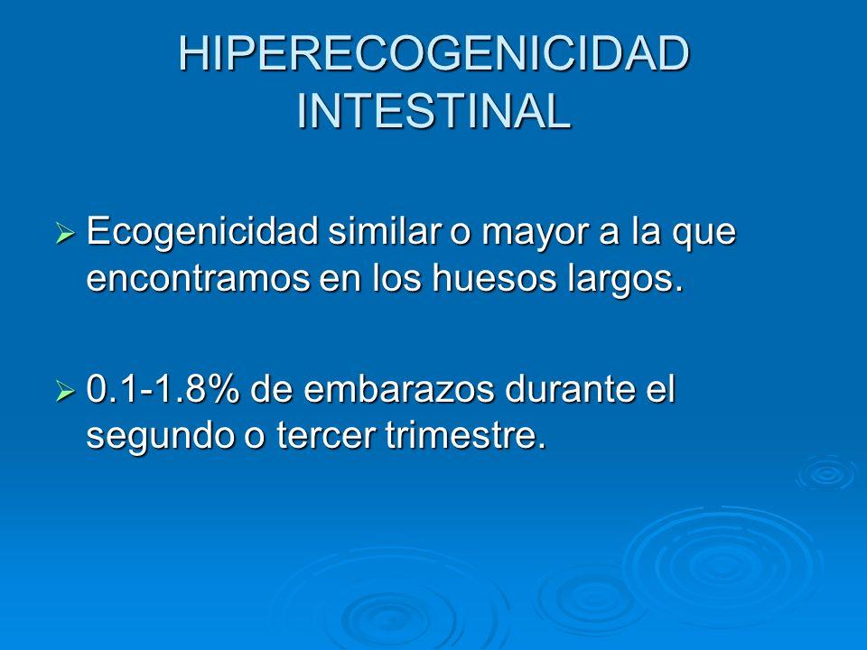 HIPERECOGENICIDAD INTESTINAL ASOCIACIONES: Partos normales: 65.5% Partos normales: 65.5% Malformaciones múltiples: 6.9% Malformaciones múltiples: 6.9% Anomalías cromosómicas: 3.5% Anomalías cromosómicas: 3.5% Fibrosis quística: 3% Fibrosis quística: 3% Infección vírica: 2.8% Infección vírica: 2.8% Éxitus intraútero: 1.9% Éxitus intraútero: 1.9% CIUR: 4.1% CIUR: 4.1% Parto prematuro: 6,2% Parto prematuro: 6,2% Hyperechogenic Fetal Bowel: a large french collaborative study of 682 cases, American Journal of Medical Genetics 121A: 2.9-213 (2003) 35%