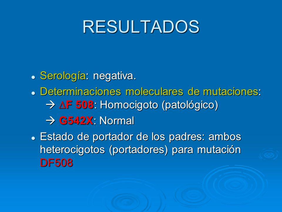 RESULTADOS Serología: negativa. Serología: negativa. Determinaciones moleculares de mutaciones: F 508: Homocigoto (patológico) Determinaciones molecul