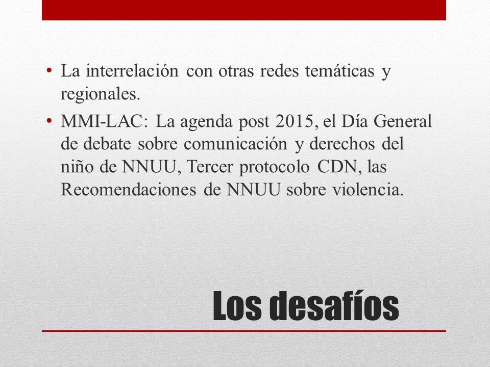 Los desafíos La interrelación con otras redes temáticas y regionales.