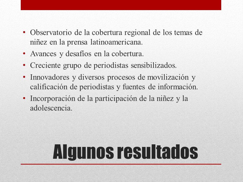 Algunos resultados Observatorio de la cobertura regional de los temas de niñez en la prensa latinoamericana.