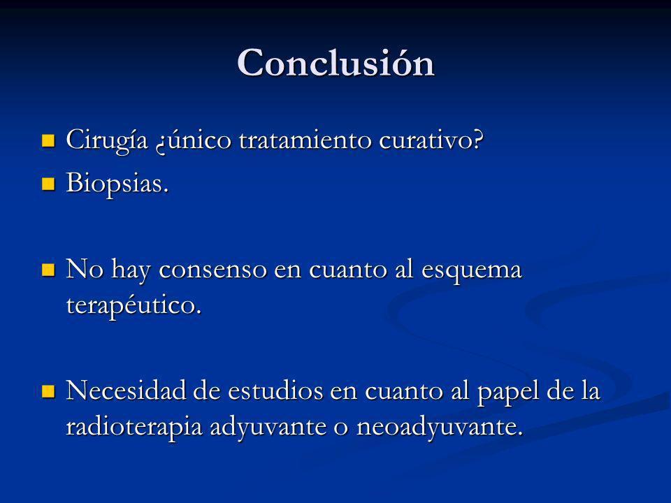 Conclusión Cirugía ¿único tratamiento curativo? Cirugía ¿único tratamiento curativo? Biopsias. Biopsias. No hay consenso en cuanto al esquema terapéut